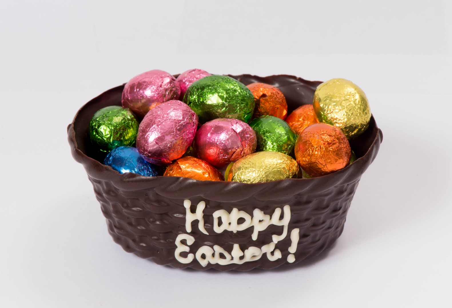 Chocolate Easter Basket Filled with Chocolate Eggs